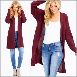Burgundy Ribbed Open Front Duster Cardigan
